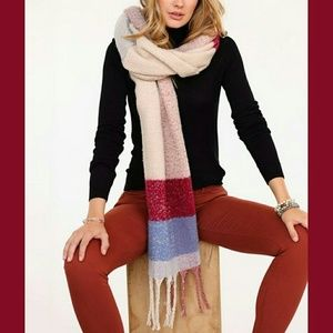 Accessories - ❤SLATE & BURGUNDY FRINGE SCARF❤